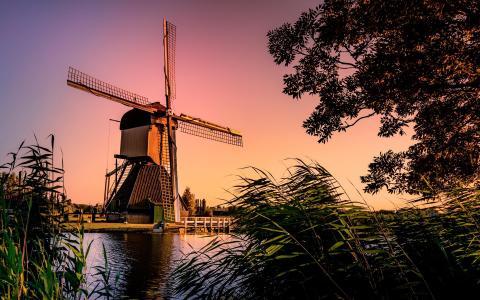 荷兰风车摄影景观